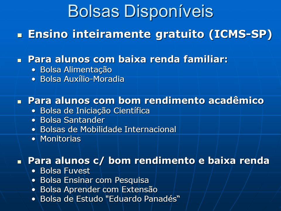 Bolsas Disponíveis Ensino inteiramente gratuito (ICMS-SP) Ensino inteiramente gratuito (ICMS-SP) Para alunos com baixa renda familiar: Para alunos com
