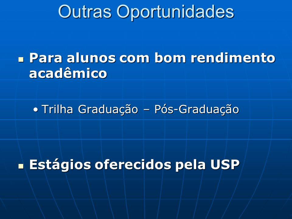 Outras Oportunidades Para alunos com bom rendimento acadêmico Para alunos com bom rendimento acadêmico Trilha Graduação – Pós-GraduaçãoTrilha Graduaçã