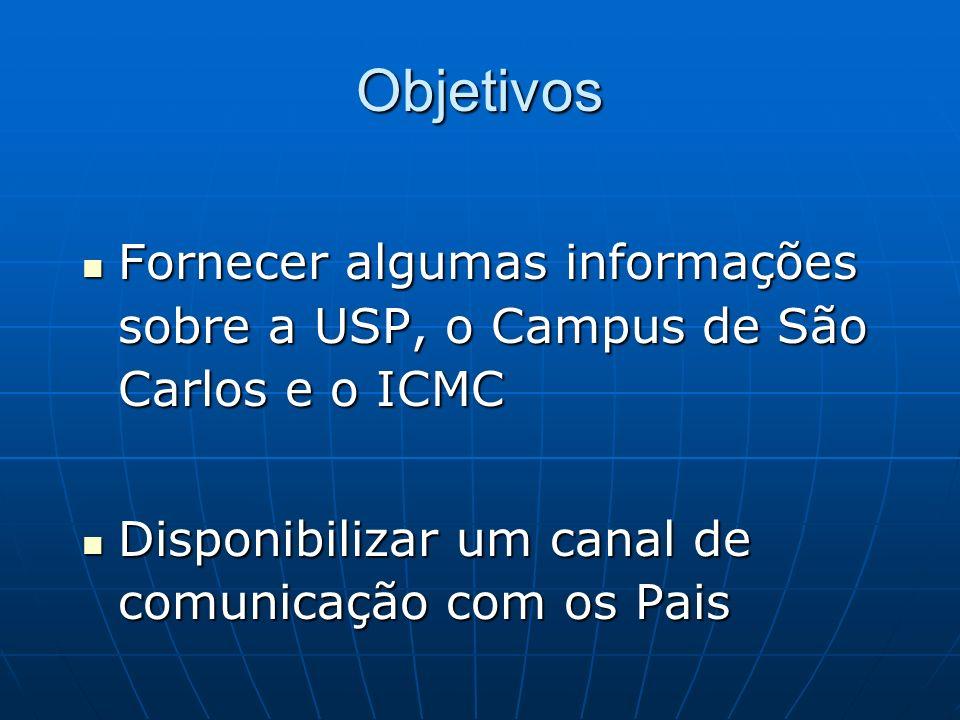 Objetivos Fornecer algumas informações sobre a USP, o Campus de São Carlos e o ICMC Fornecer algumas informações sobre a USP, o Campus de São Carlos e