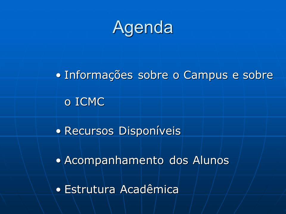 Agenda Informações sobre o Campus e sobre o ICMCInformações sobre o Campus e sobre o ICMC Recursos DisponíveisRecursos Disponíveis Acompanhamento dos