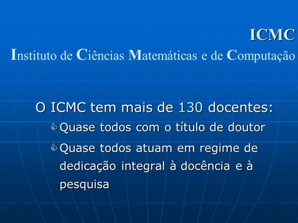 O ICMC tem mais de 130 docentes: Quase todos com o título de doutor Quase todos com o título de doutor Quase todos atuam em regime de dedicação integr