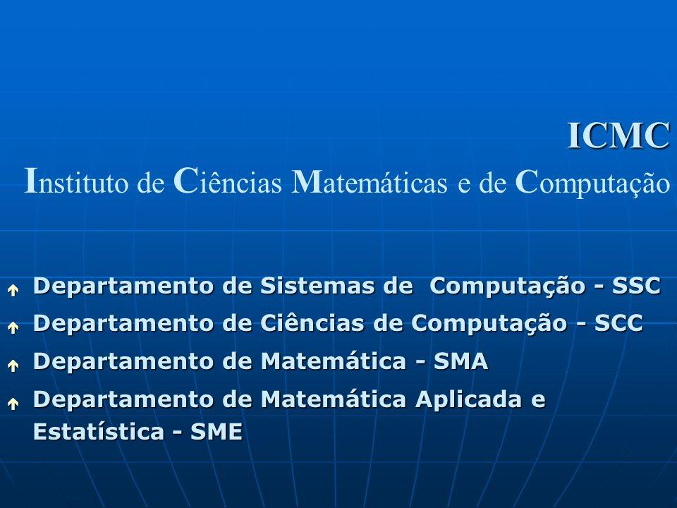 é Departamento de Sistemas de Computação - SSC é Departamento de Ciências de Computação - SCC é Departamento de Matemática - SMA é Departamento de Mat