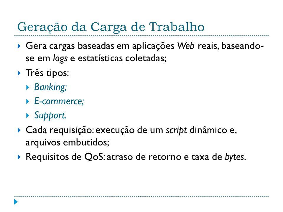 Geração da Carga de Trabalho Gera cargas baseadas em aplicações Web reais, baseando- se em logs e estatísticas coletadas; Três tipos: Banking; E-comme