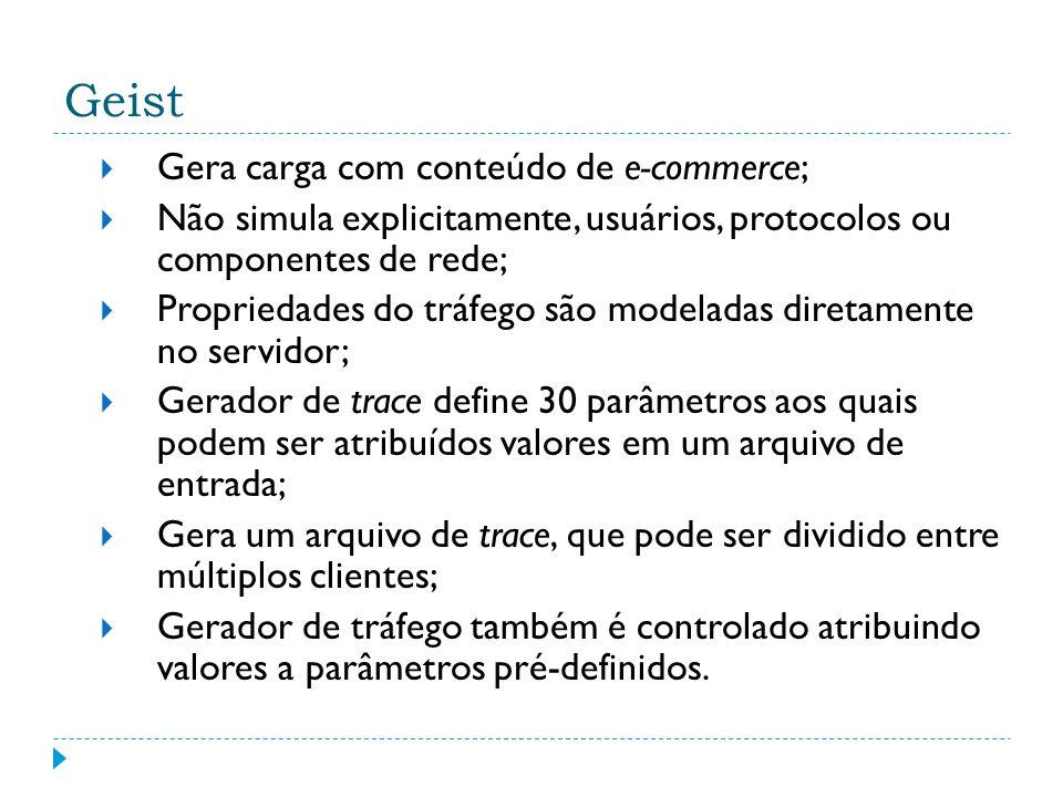Geist Gera carga com conteúdo de e-commerce; Não simula explicitamente, usuários, protocolos ou componentes de rede; Propriedades do tráfego são model
