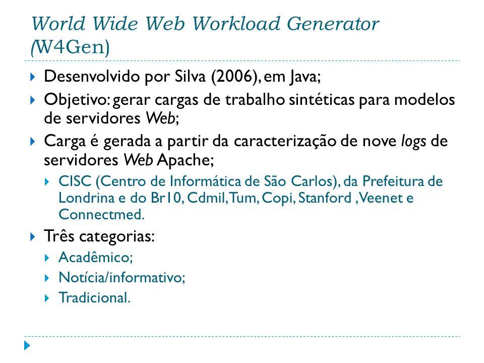 Desenvolvido por Silva (2006), em Java; Objetivo: gerar cargas de trabalho sintéticas para modelos de servidores Web; Carga é gerada a partir da carac