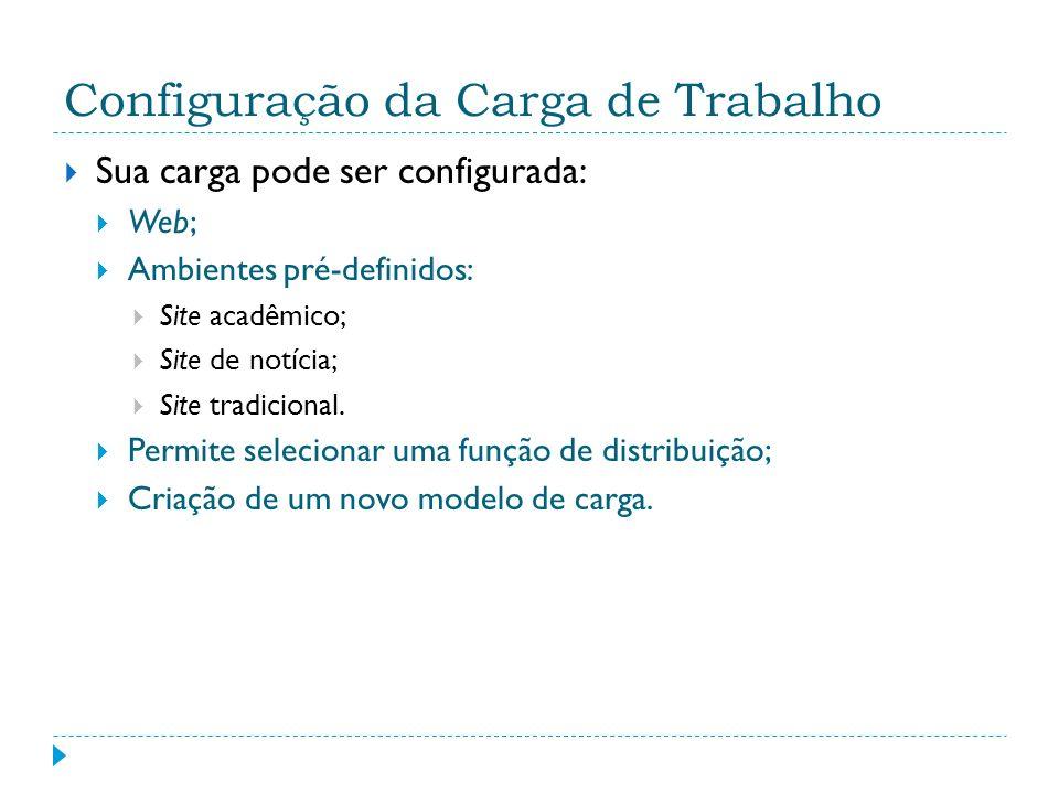 Configuração da Carga de Trabalho Sua carga pode ser configurada: Web; Ambientes pré-definidos: Site acadêmico; Site de notícia; Site tradicional. Per