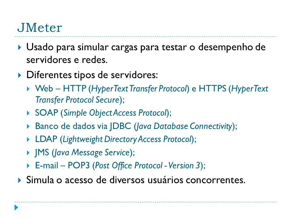 JMeter Usado para simular cargas para testar o desempenho de servidores e redes. Diferentes tipos de servidores: Web – HTTP (HyperText Transfer Protoc