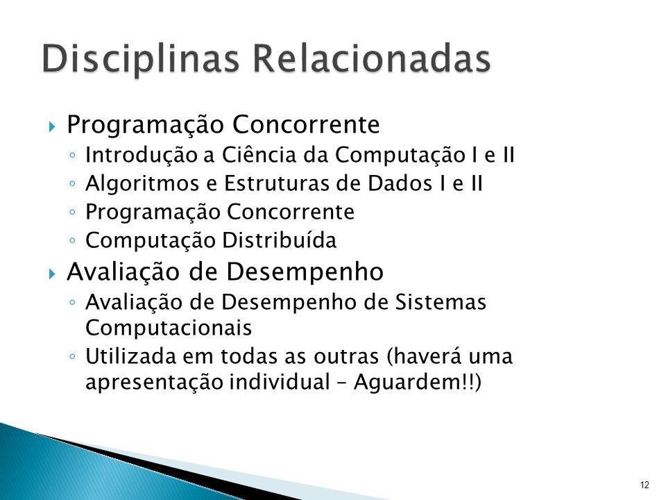 Programação Concorrente Introdução a Ciência da Computação I e II Algoritmos e Estruturas de Dados I e II Programação Concorrente Computação Distribuí