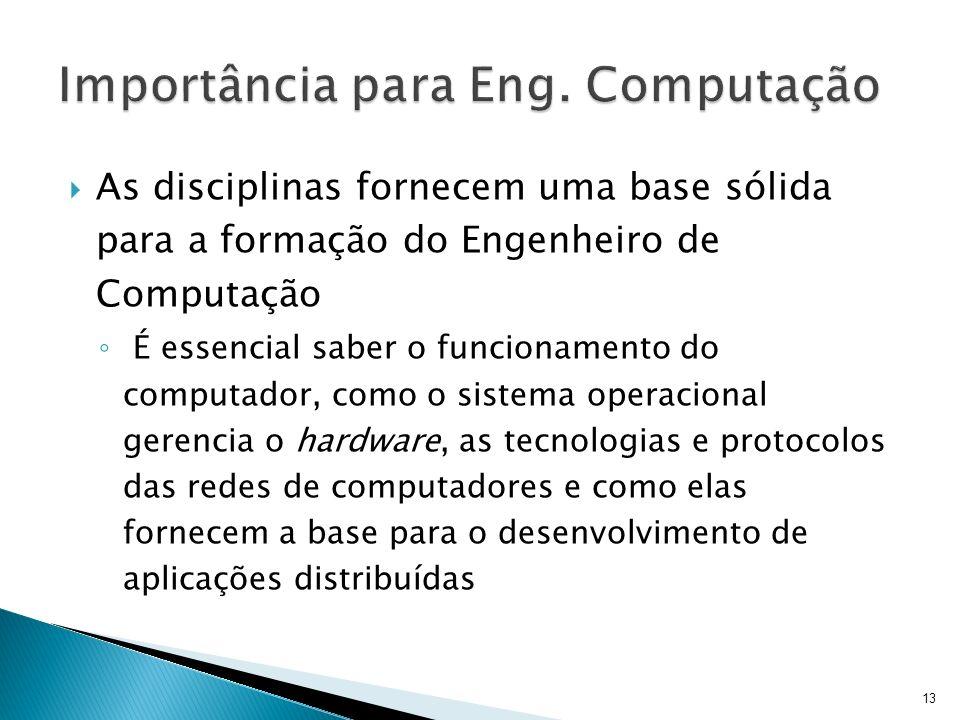 As disciplinas fornecem uma base sólida para a formação do Engenheiro de Computação É essencial saber o funcionamento do computador, como o sistema op