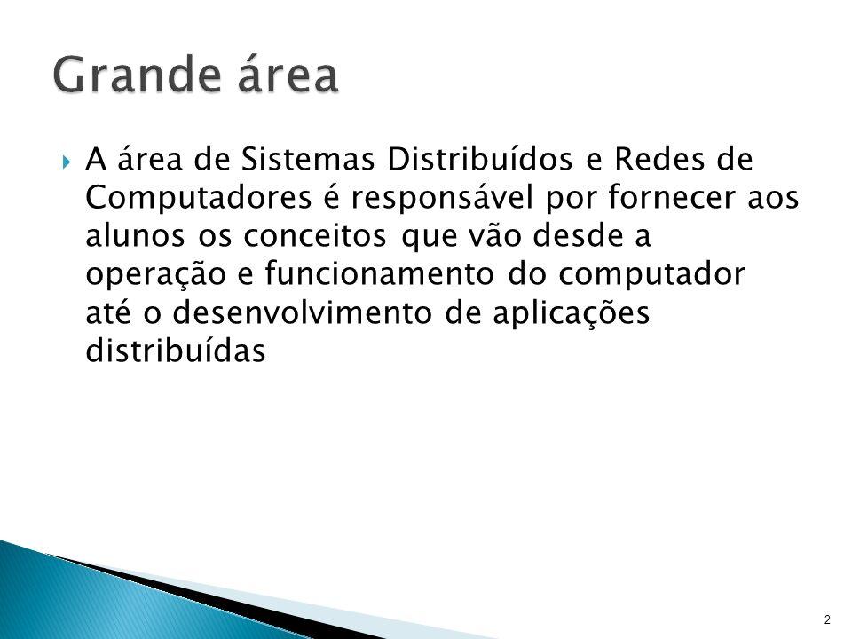 A área de Sistemas Distribuídos e Redes de Computadores é responsável por fornecer aos alunos os conceitos que vão desde a operação e funcionamento do