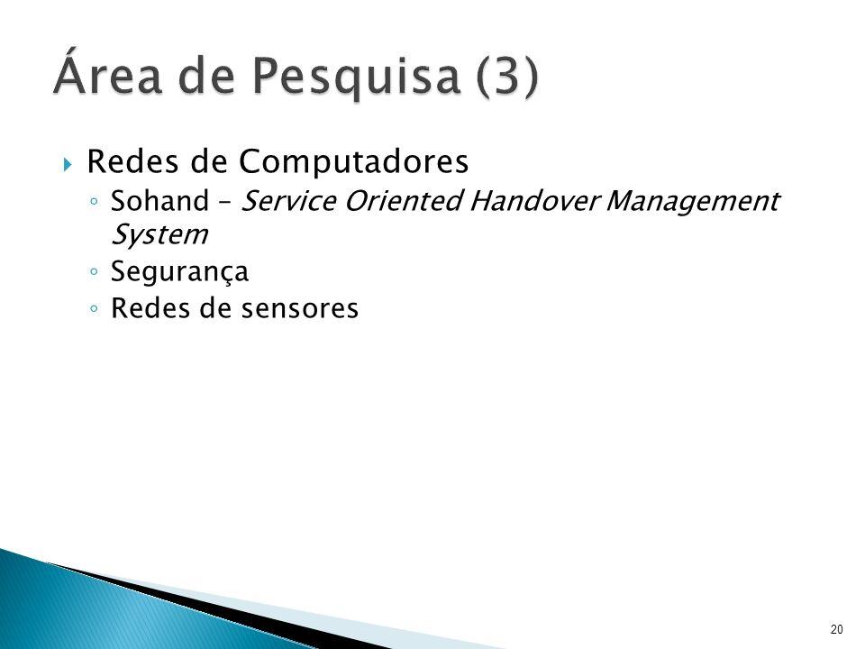 Redes de Computadores Sohand – Service Oriented Handover Management System Segurança Redes de sensores 20