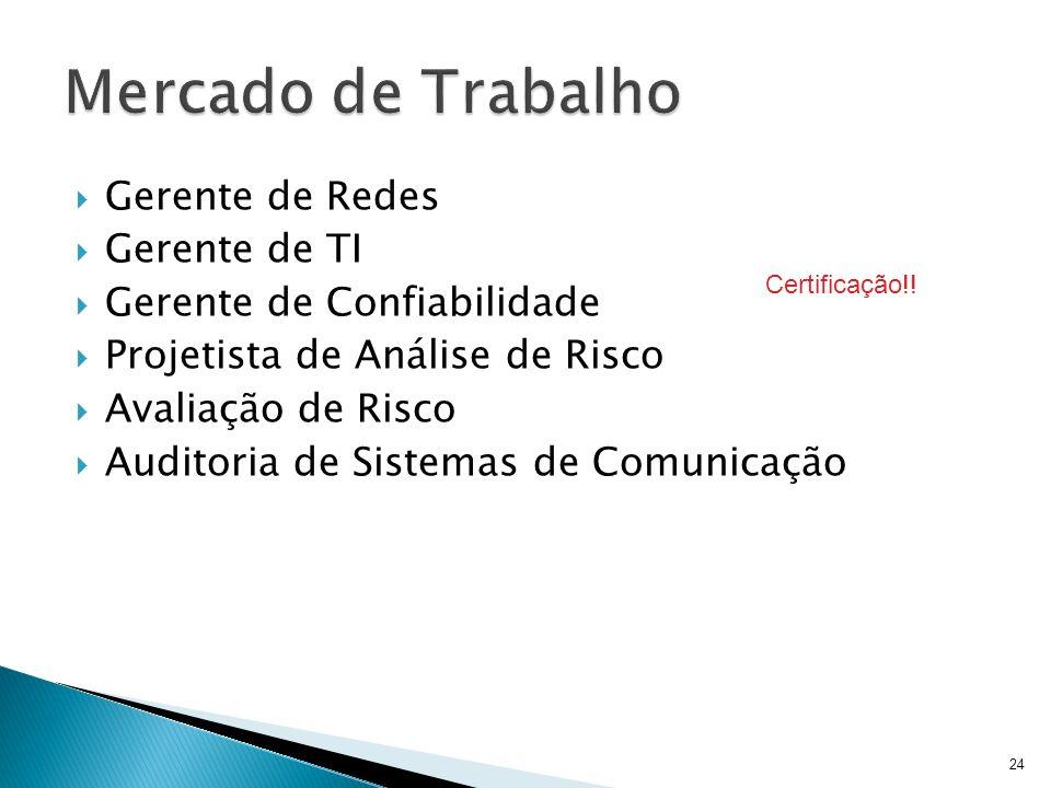 Gerente de Redes Gerente de TI Gerente de Confiabilidade Projetista de Análise de Risco Avaliação de Risco Auditoria de Sistemas de Comunicação 24 Cer