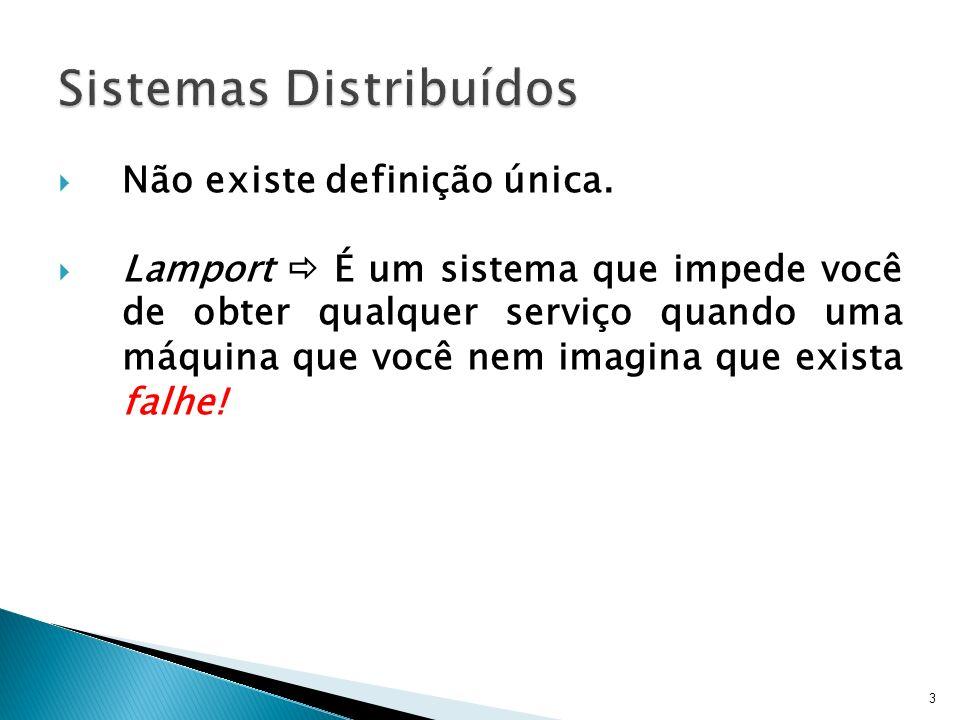 3 Não existe definição única. Lamport É um sistema que impede você de obter qualquer serviço quando uma máquina que você nem imagina que exista falhe!