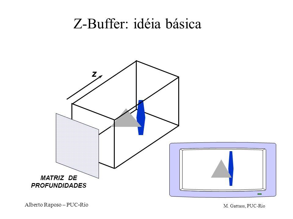 Alberto Raposo – PUC-Rio Z-Buffer: idéia básica z MATRIZ DE PROFUNDIDADES M. Gattass, PUC-Rio