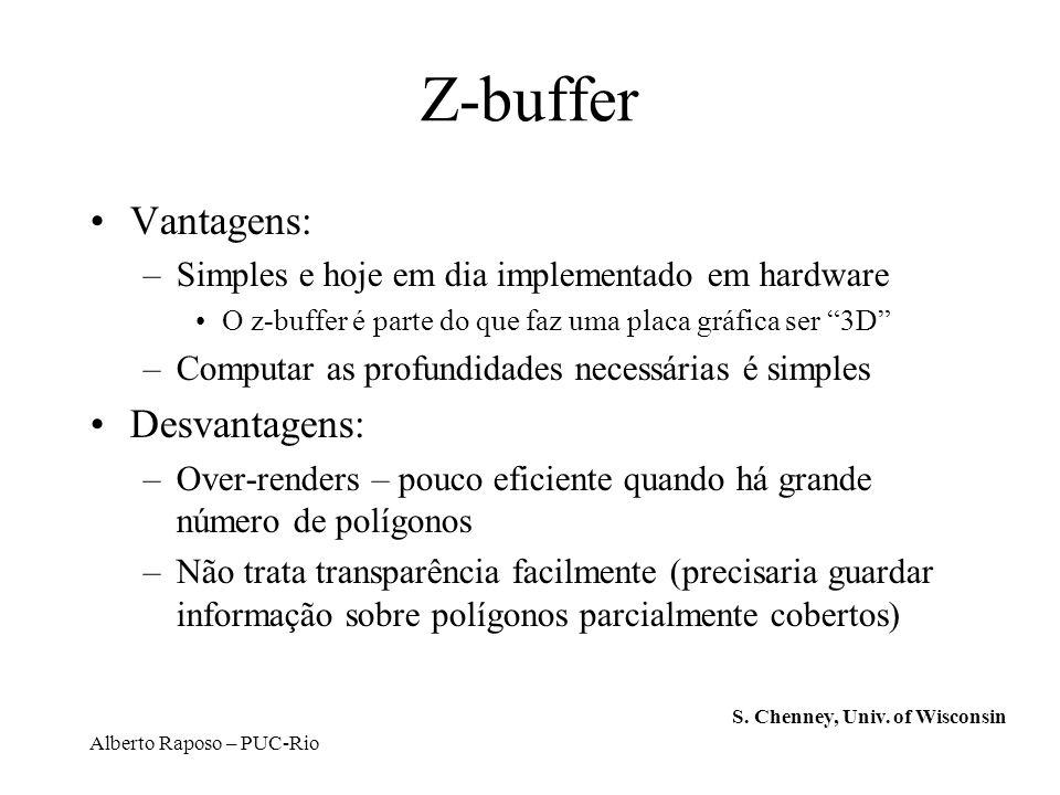 Alberto Raposo – PUC-Rio Z-buffer Vantagens: –Simples e hoje em dia implementado em hardware O z-buffer é parte do que faz uma placa gráfica ser 3D –C