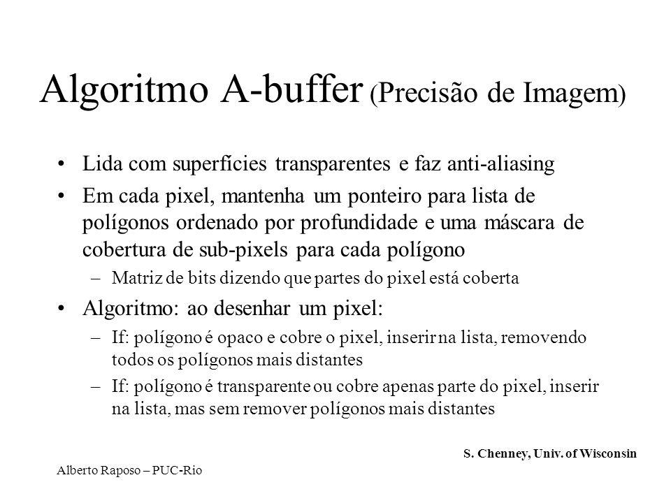 Alberto Raposo – PUC-Rio Algoritmo A-buffer ( Precisão de Imagem ) Lida com superfícies transparentes e faz anti-aliasing Em cada pixel, mantenha um p