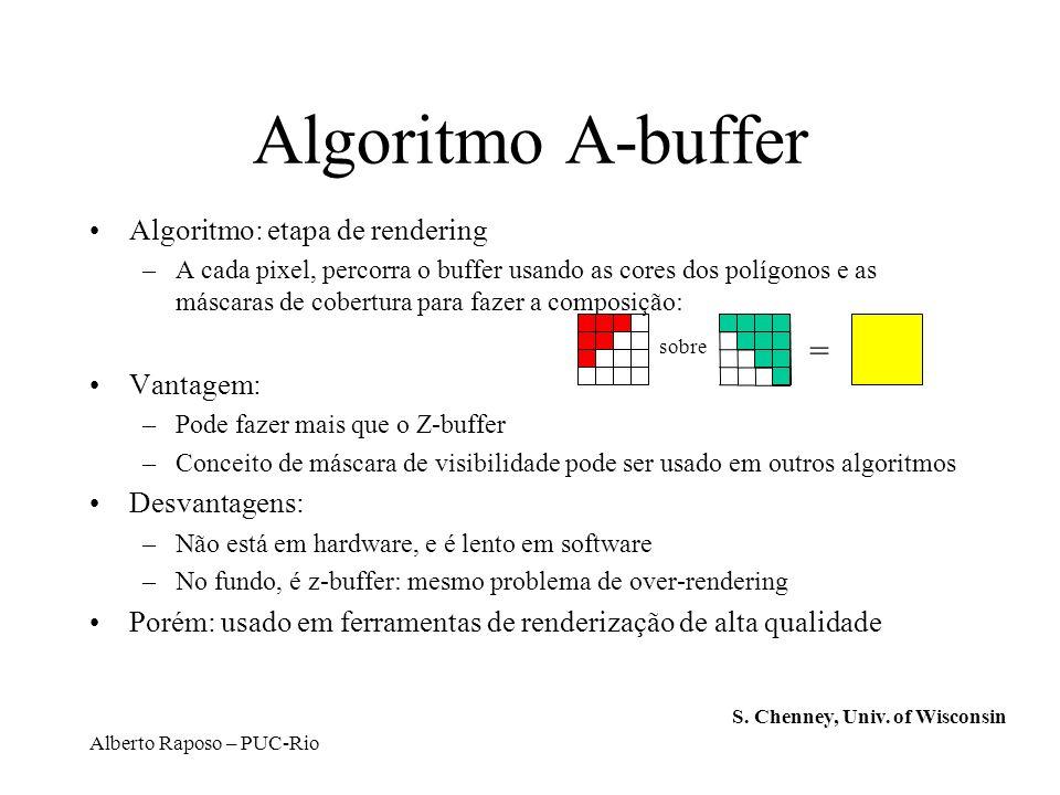 Alberto Raposo – PUC-Rio Algoritmo A-buffer Algoritmo: etapa de rendering –A cada pixel, percorra o buffer usando as cores dos polígonos e as máscaras