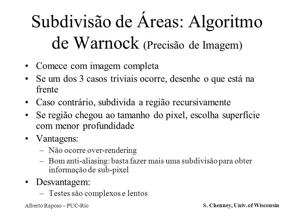 Alberto Raposo – PUC-Rio Subdivisão de Áreas: Algoritmo de Warnock (Precisão de Imagem) Comece com imagem completa Se um dos 3 casos triviais ocorre,