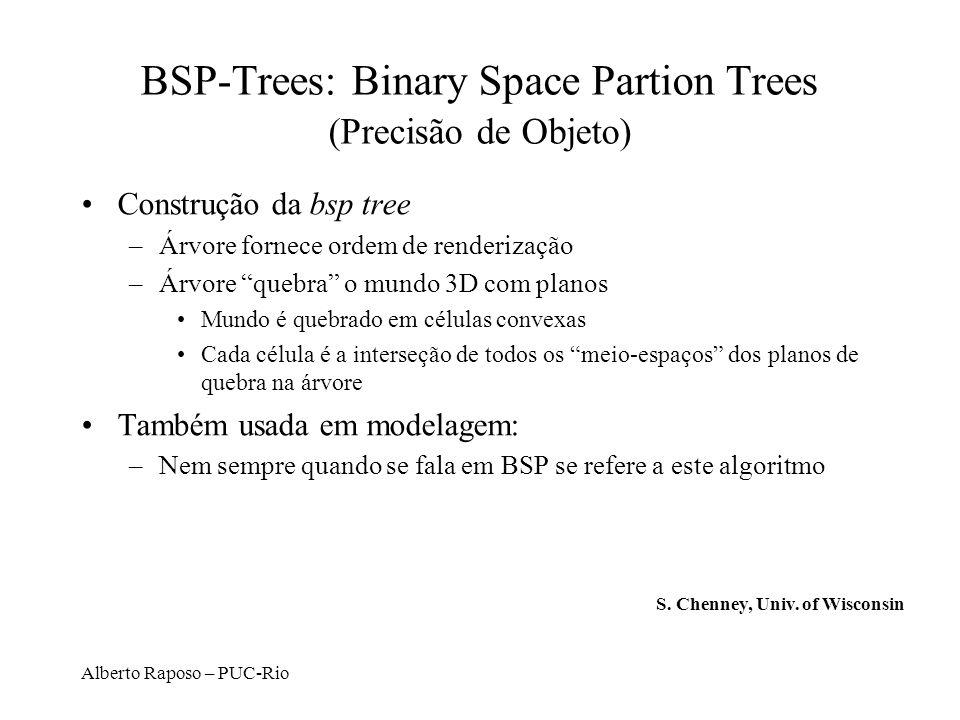 Alberto Raposo – PUC-Rio BSP-Trees: Binary Space Partion Trees (Precisão de Objeto) Construção da bsp tree –Árvore fornece ordem de renderização –Árvo
