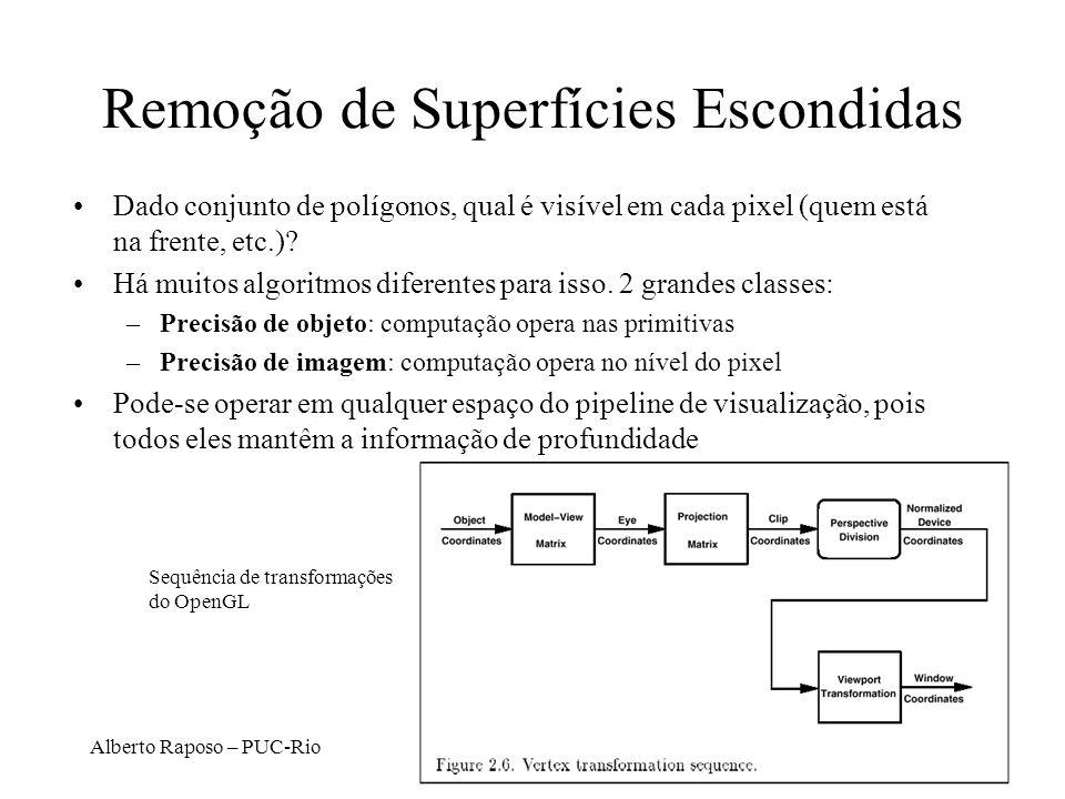 Alberto Raposo – PUC-Rio Remoção de Superfícies Escondidas Dado conjunto de polígonos, qual é visível em cada pixel (quem está na frente, etc.)? Há mu