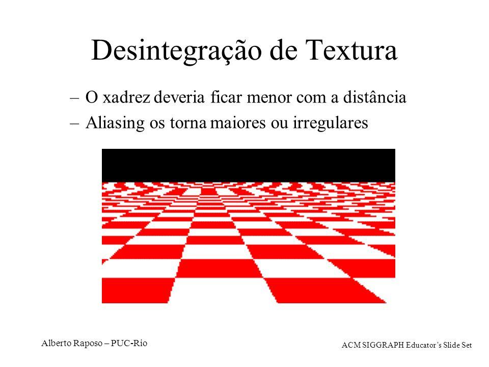 Alberto Raposo – PUC-Rio Desintegração de Textura –O xadrez deveria ficar menor com a distância –Aliasing os torna maiores ou irregulares ACM SIGGRAPH