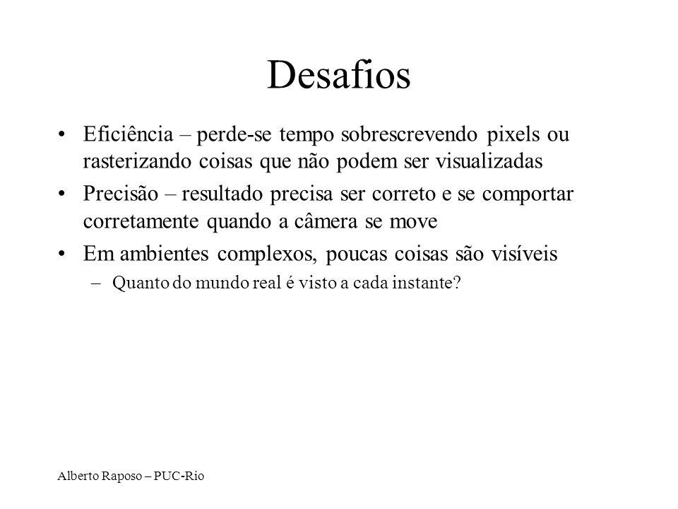 Alberto Raposo – PUC-Rio Desafios Eficiência – perde-se tempo sobrescrevendo pixels ou rasterizando coisas que não podem ser visualizadas Precisão – r