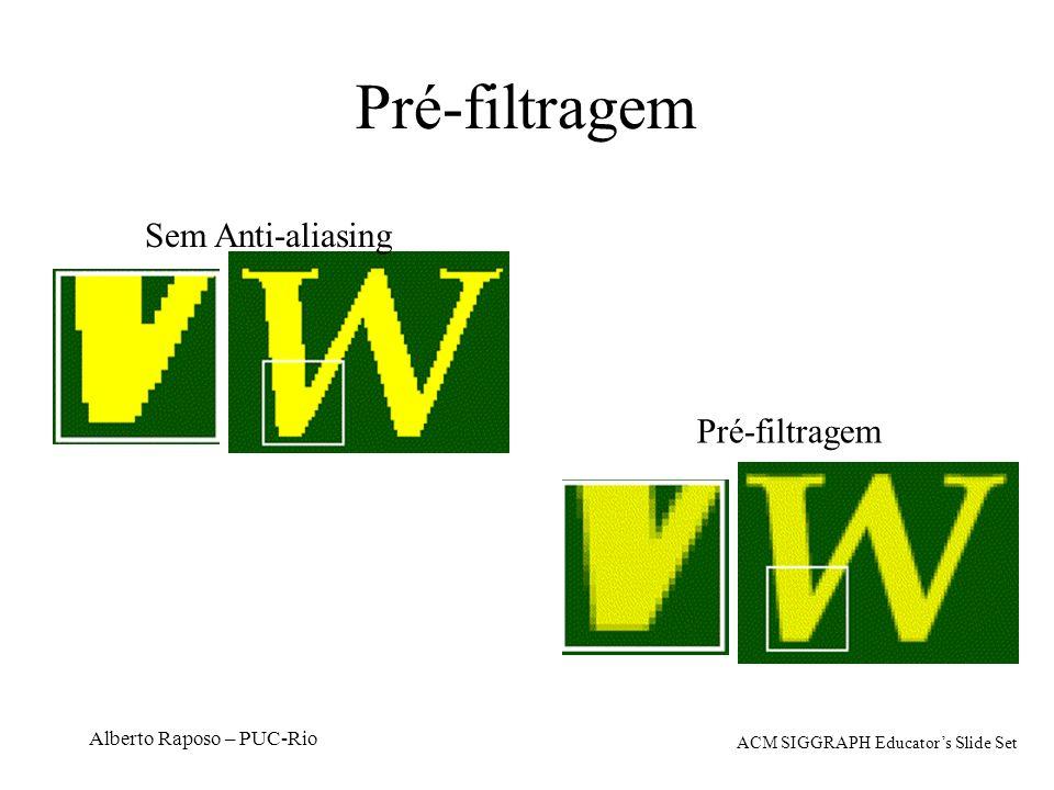 Alberto Raposo – PUC-Rio Pré-filtragem Sem Anti-aliasing Pré-filtragem ACM SIGGRAPH Educators Slide Set