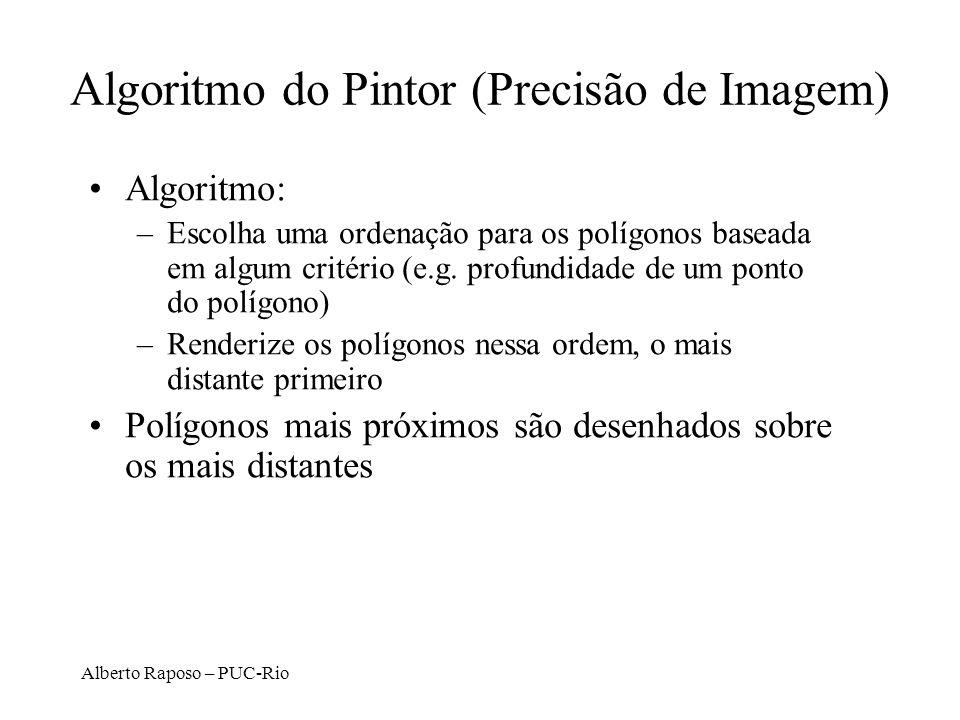 Alberto Raposo – PUC-Rio Algoritmo do Pintor (Precisão de Imagem) Algoritmo: –Escolha uma ordenação para os polígonos baseada em algum critério (e.g.