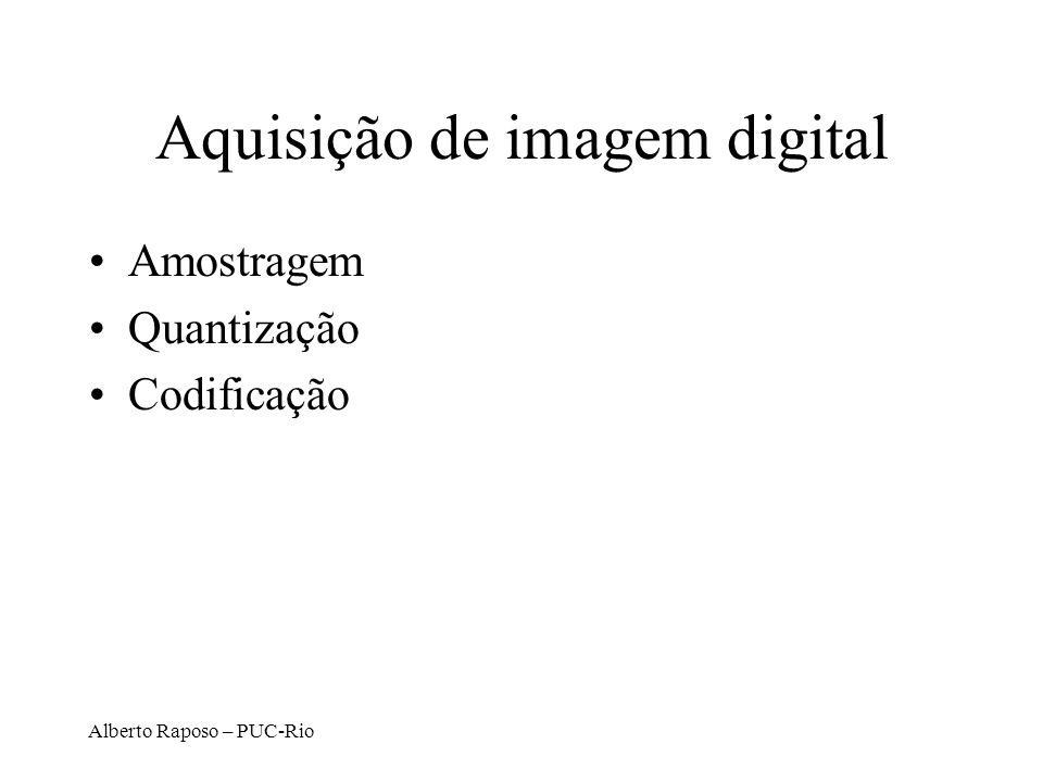Alberto Raposo – PUC-Rio Aquisição de imagem digital Amostragem Quantização Codificação