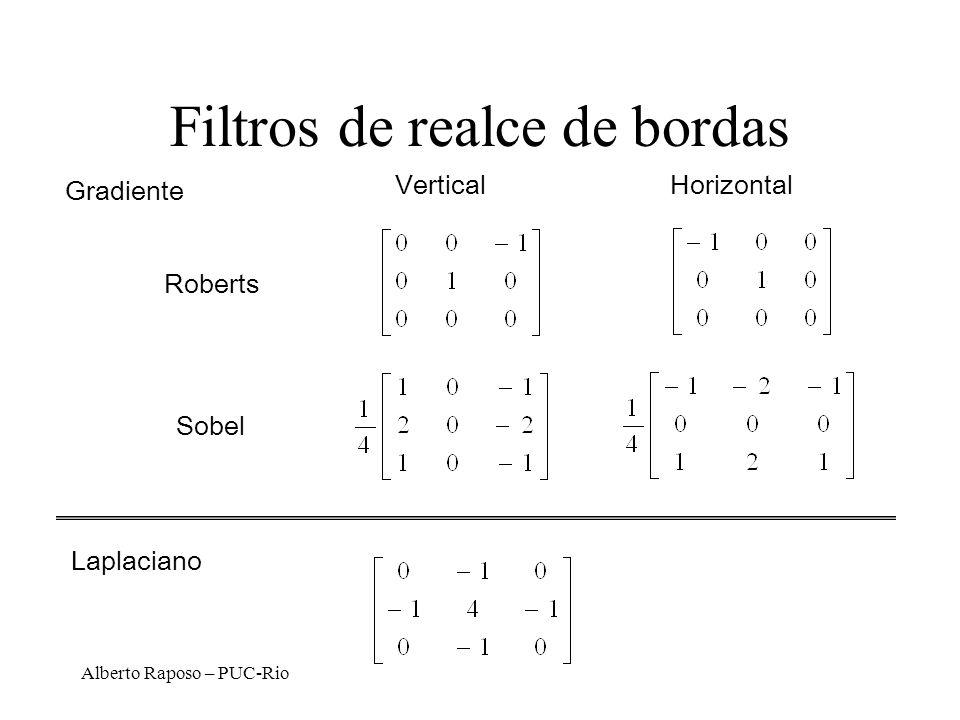 Alberto Raposo – PUC-Rio Filtros de realce de bordas Laplaciano VerticalHorizontal Roberts Sobel Gradiente