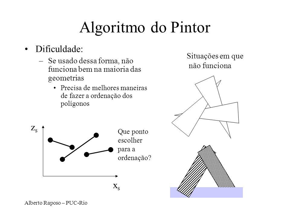 Alberto Raposo – PUC-Rio Algoritmo do Pintor Dificuldade: –Se usado dessa forma, não funciona bem na maioria das geometrias Precisa de melhores maneir