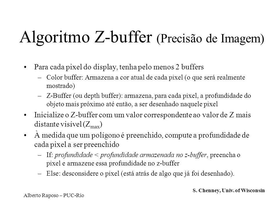 Alberto Raposo – PUC-Rio Algoritmo Z-buffer (Precisão de Imagem) Para cada pixel do display, tenha pelo menos 2 buffers –Color buffer: Armazena a cor