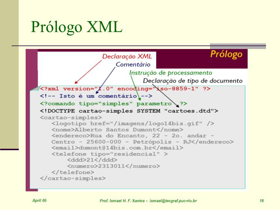 April 05 Prof. Ismael H. F. Santos - ismael@tecgraf.puc-rio.br 16 Prólogo XML