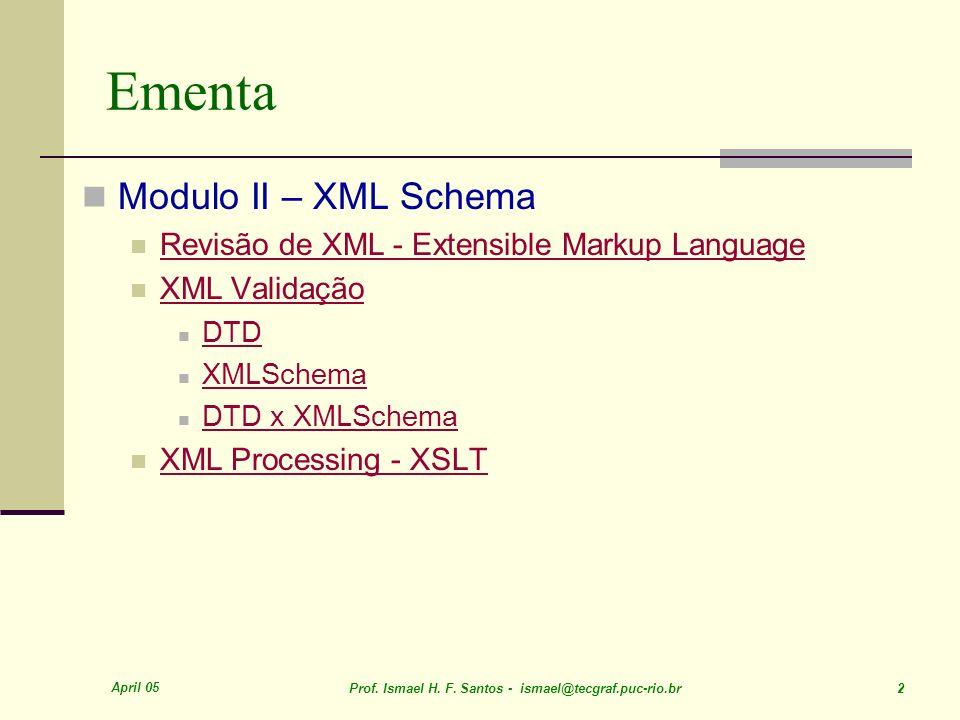 April 05 Prof. Ismael H. F. Santos - ismael@tecgraf.puc-rio.br 13 Partes de um documento XML