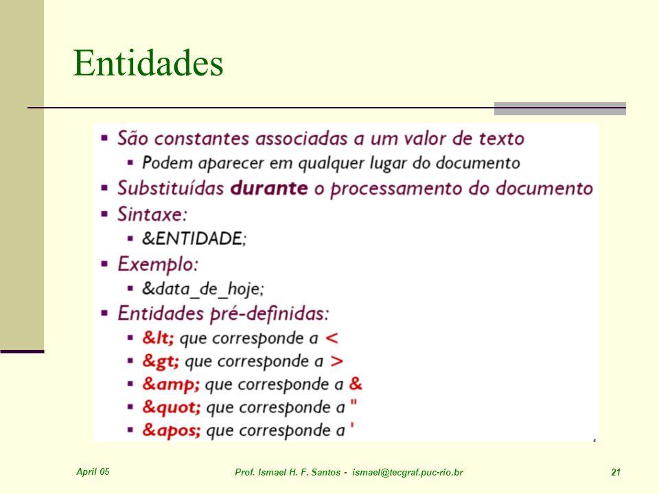 April 05 Prof. Ismael H. F. Santos - ismael@tecgraf.puc-rio.br 21 Entidades