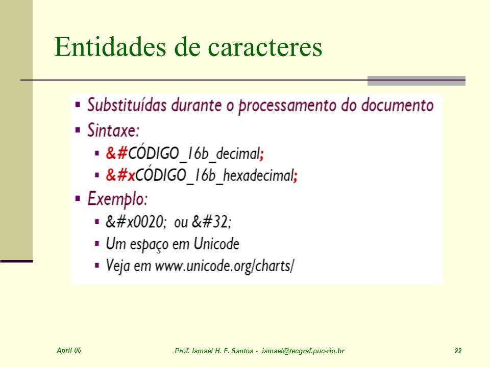 April 05 Prof. Ismael H. F. Santos - ismael@tecgraf.puc-rio.br 22 Entidades de caracteres