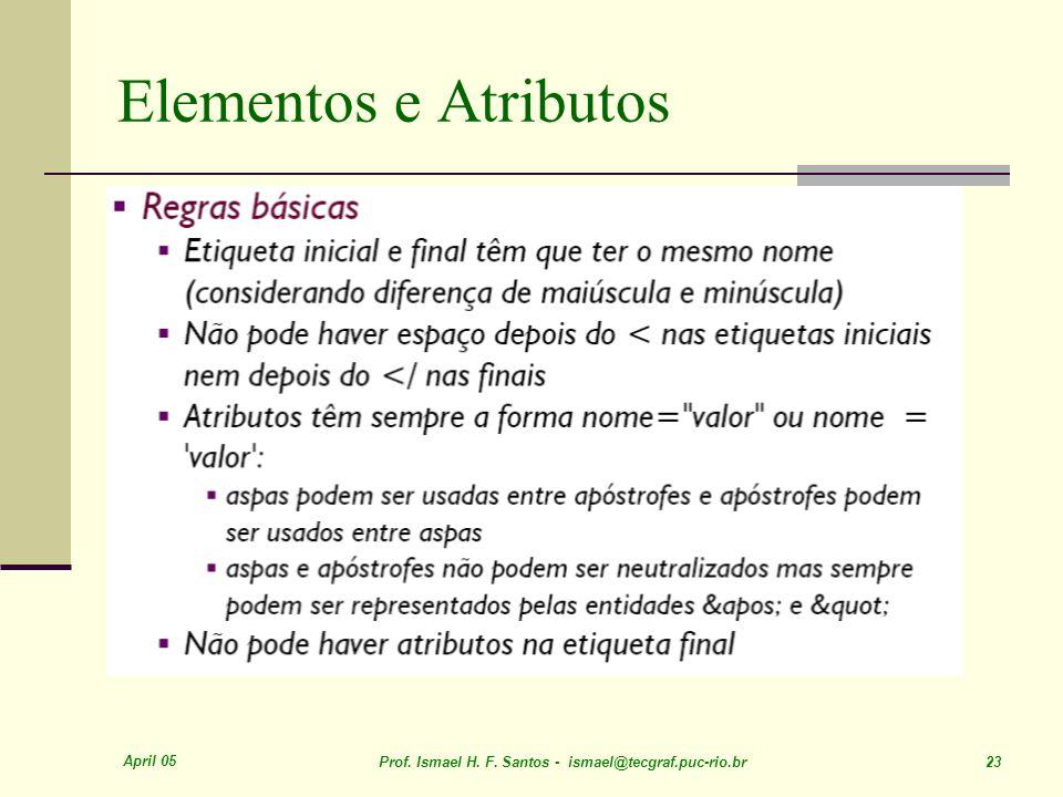 April 05 Prof. Ismael H. F. Santos - ismael@tecgraf.puc-rio.br 23 Elementos e Atributos