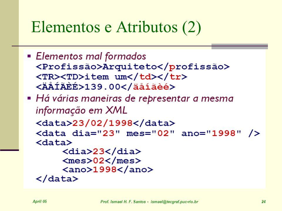 April 05 Prof. Ismael H. F. Santos - ismael@tecgraf.puc-rio.br 24 Elementos e Atributos (2)