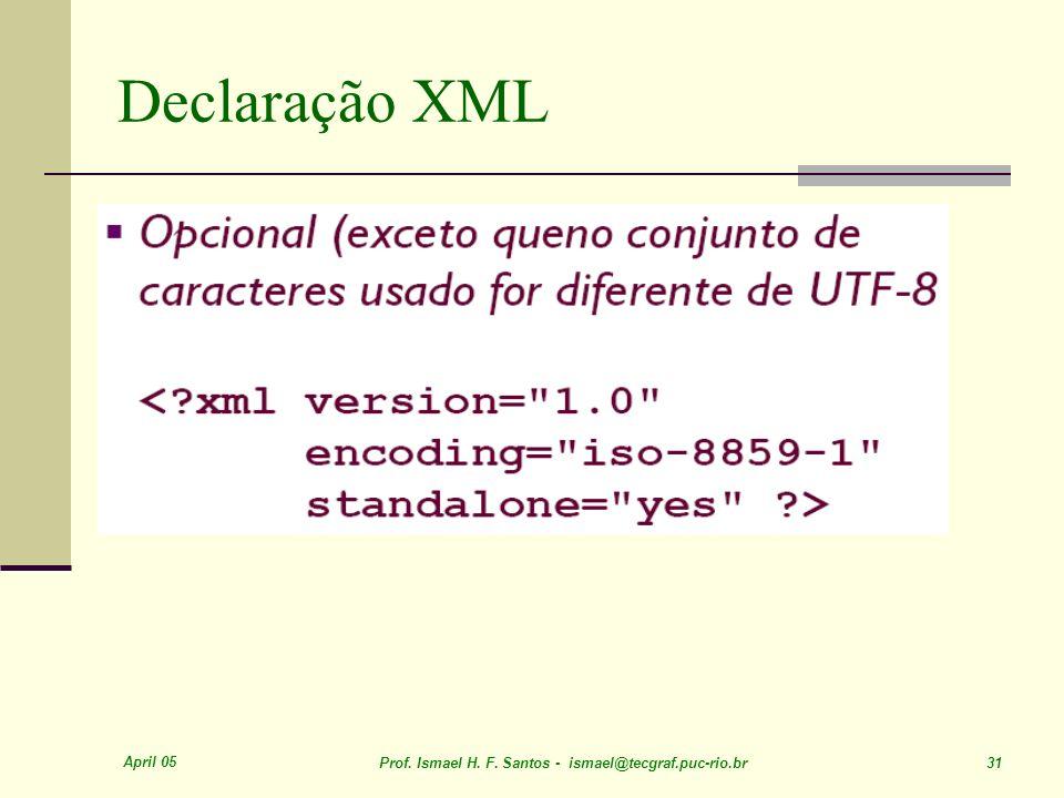 April 05 Prof. Ismael H. F. Santos - ismael@tecgraf.puc-rio.br 31 Declaração XML