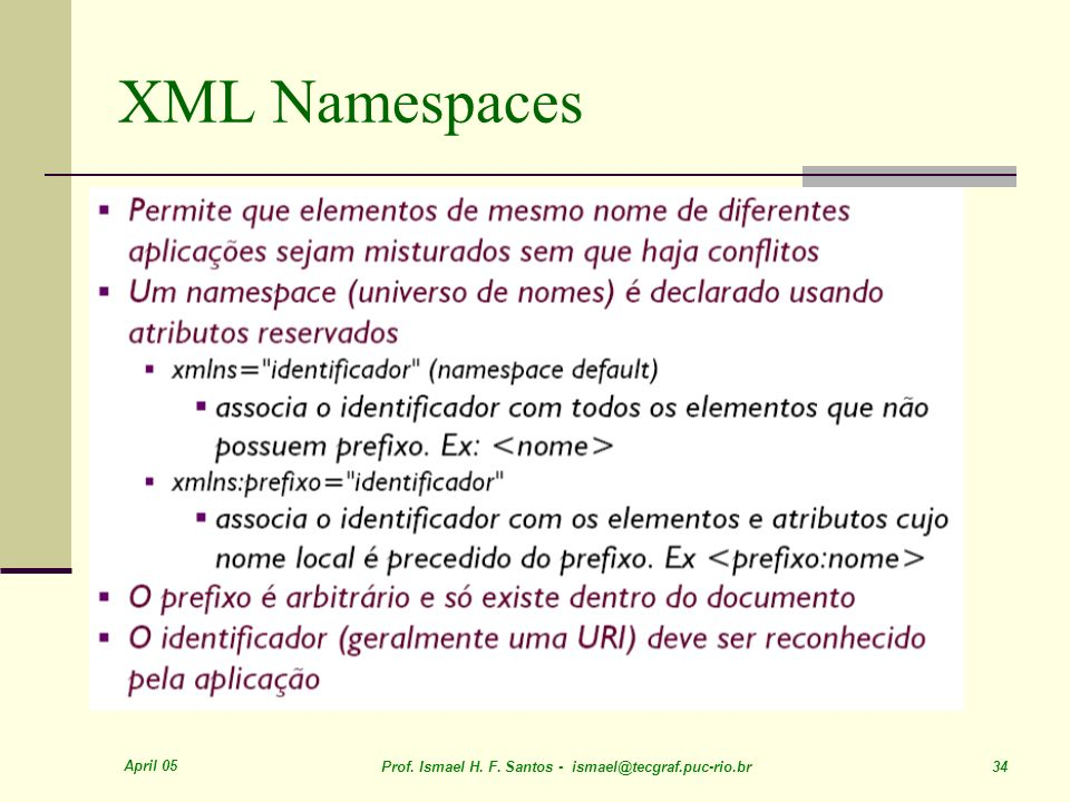 April 05 Prof. Ismael H. F. Santos - ismael@tecgraf.puc-rio.br 34 XML Namespaces
