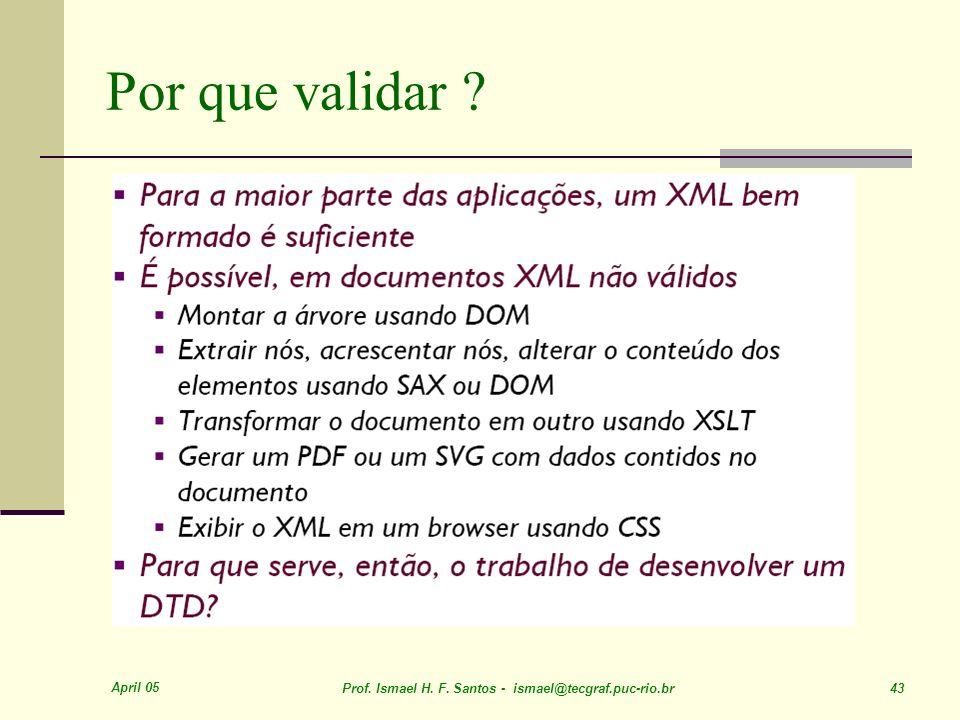 April 05 Prof. Ismael H. F. Santos - ismael@tecgraf.puc-rio.br 43 Por que validar ?