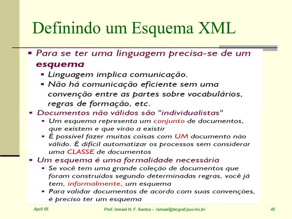 April 05 Prof. Ismael H. F. Santos - ismael@tecgraf.puc-rio.br 45 Definindo um Esquema XML
