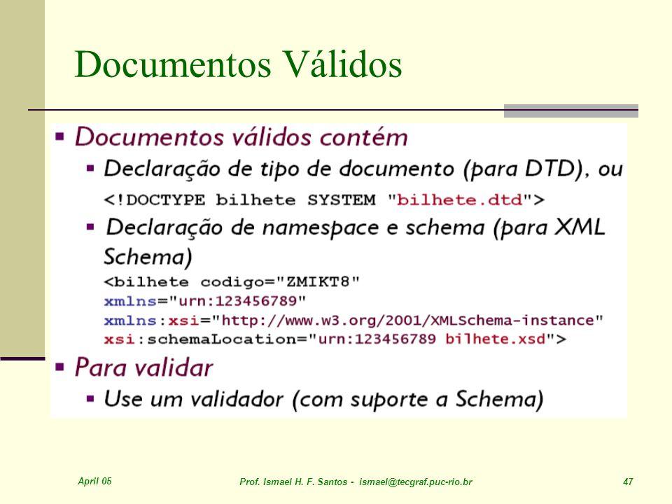 April 05 Prof. Ismael H. F. Santos - ismael@tecgraf.puc-rio.br 47 Documentos Válidos