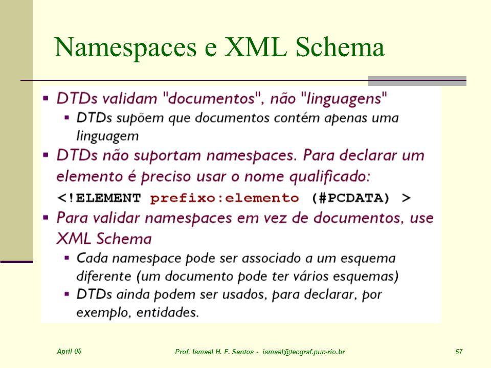 April 05 Prof. Ismael H. F. Santos - ismael@tecgraf.puc-rio.br 57 Namespaces e XML Schema