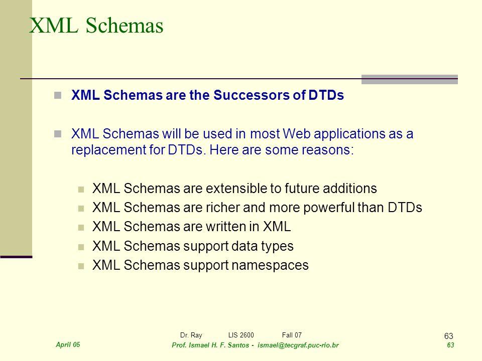 April 05 Prof. Ismael H. F. Santos - ismael@tecgraf.puc-rio.br 63 Dr. RayLIS 2600 Fall 07 63 XML Schemas XML Schemas are the Successors of DTDs XML Sc
