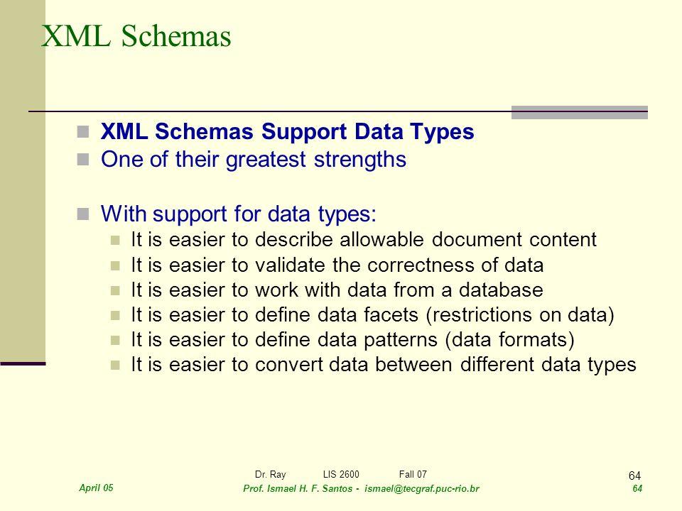 April 05 Prof. Ismael H. F. Santos - ismael@tecgraf.puc-rio.br 64 Dr. RayLIS 2600 Fall 07 64 XML Schemas XML Schemas Support Data Types One of their g