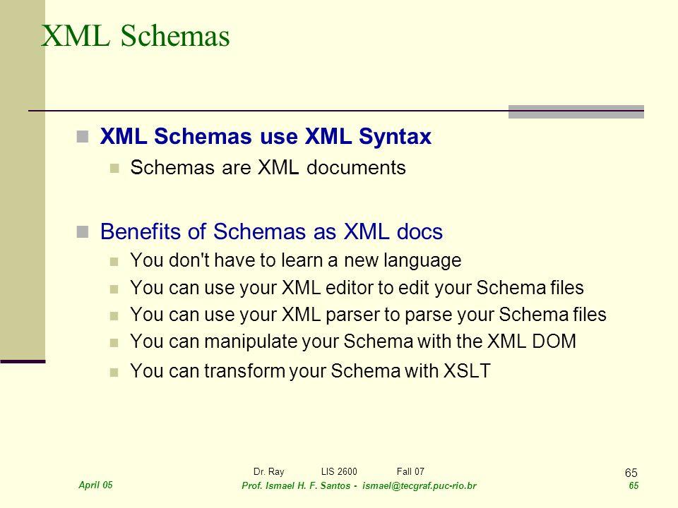 April 05 Prof. Ismael H. F. Santos - ismael@tecgraf.puc-rio.br 65 Dr. RayLIS 2600 Fall 07 65 XML Schemas XML Schemas use XML Syntax Schemas are XML do
