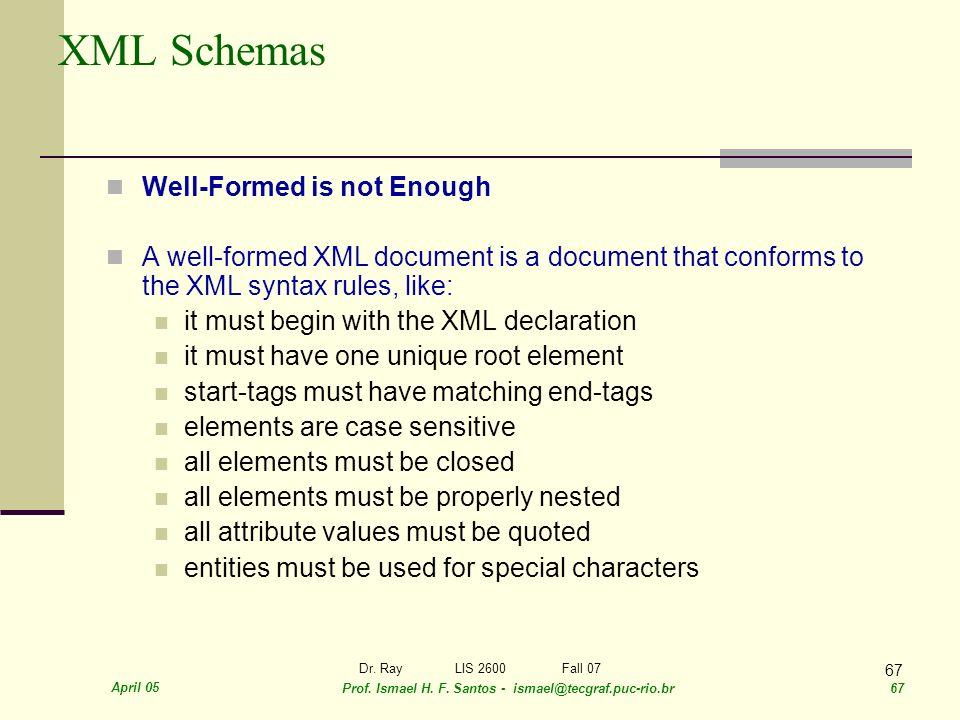 April 05 Prof. Ismael H. F. Santos - ismael@tecgraf.puc-rio.br 67 Dr. RayLIS 2600 Fall 07 67 XML Schemas Well-Formed is not Enough A well-formed XML d