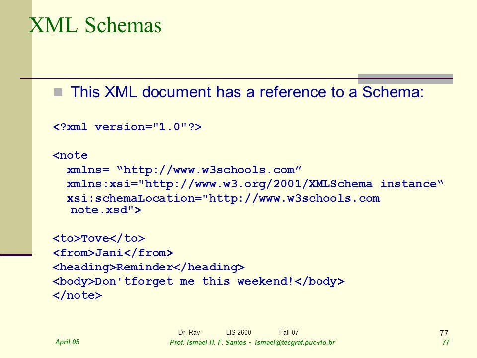 April 05 Prof. Ismael H. F. Santos - ismael@tecgraf.puc-rio.br 77 Dr. RayLIS 2600 Fall 07 77 XML Schemas This XML document has a reference to a Schema