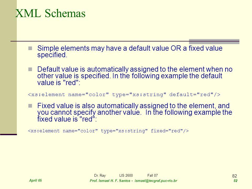 April 05 Prof. Ismael H. F. Santos - ismael@tecgraf.puc-rio.br 82 Dr. RayLIS 2600 Fall 07 82 XML Schemas Simple elements may have a default value OR a